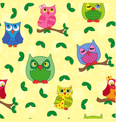 Seamless pattern with ornamental owls over yellow vector
