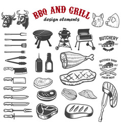 bbq and grill design elements for logo label vector image