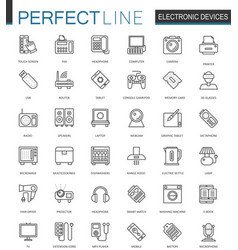 Electronic device thin line web icons set gadgets vector