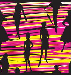 fashion women background lady retro dress vector image