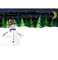 Night winter woodland scene vector