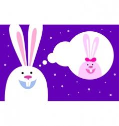 rabbit dreams of love vector image