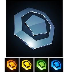 3d heptagonal emblems vector image