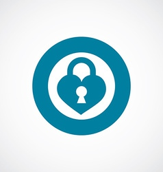 Heart lock icon bold blue circle border vector