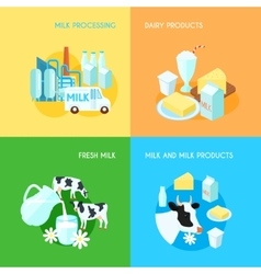 Milk 4 flat square icons composition vector