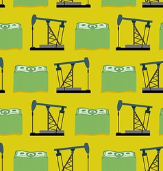 Oil rig and a bundle of money seamless pattern vector