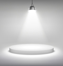 Illuminated white stand podium to place object vector