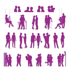 Romantic date silhouettes vector