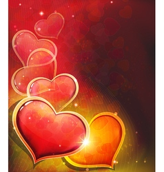 Valentine day heart on red background vector