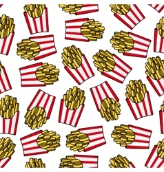 Fast food french fries seamless pattern vector