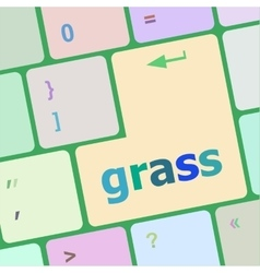 Computer keyboard button with grass button vector