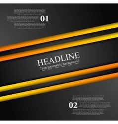 Abstract contrast orange black tech background vector image vector image