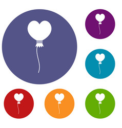 Balloon in the shape of heart icons set vector