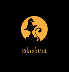 black cat logo vector image