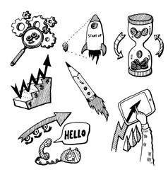 Business Idea concept doodles icons set sketch vector image vector image