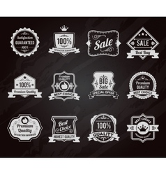 Chalkboard sales labels icons collection vector image