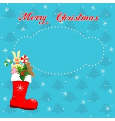 Christmas card with Red boot vector image vector image