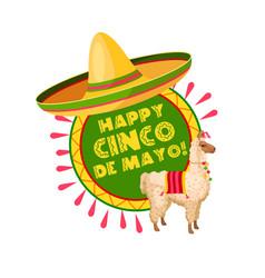 Cinco de mayo mexican party sombrero greeting card vector