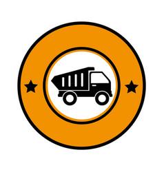 circular emblem with dump truck vector image