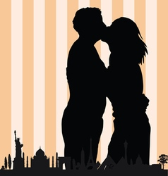 couple with monument building in colorful vector image