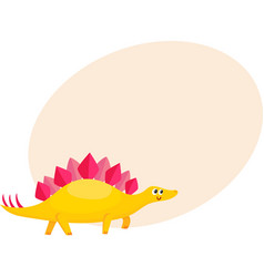 Cute and funny smiling baby stegosaurus dinosaur vector