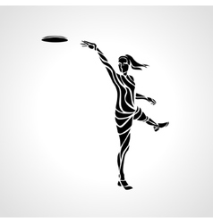Female player is throwing flying disc vector