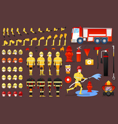 firefighter character creation constructor vector image vector image