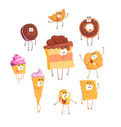 Funny sweets standing and smiling set for label vector
