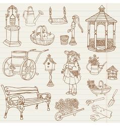 Gardening Hand Drawn Doodles vector image