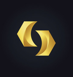 Gold abstract shape geometry logo vector