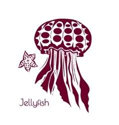 Hand drawn tattoo stylized jellyfish marine life vector