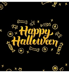 Happy halloween gold black greeting card vector