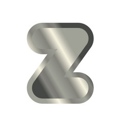 Letter z steel font metal alphabet sign iron abc vector