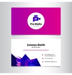 Modern media agency business card template vector