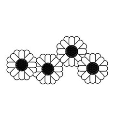 Monochrome silhouette with abstract sunflower vector