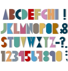 Paper font numbers and punctuation mark with vector