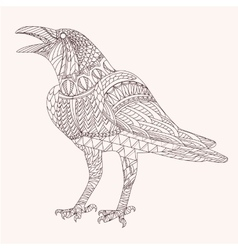 Patterned raven zentangle style vector image
