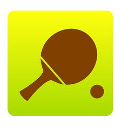 Ping pong paddle with ball brown icon at vector