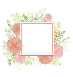 Pink flowers and green leaves vector