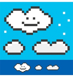 Retro 8-bit pixel clouds set collection vector