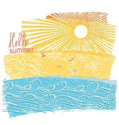 Sea waves and sun of sea landscape vector