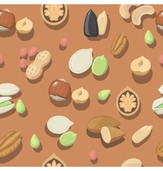 seamless pattern nuts hazelnut almonds vector image