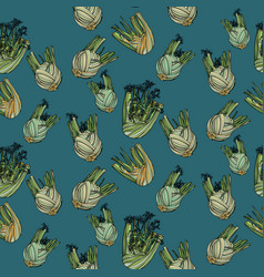 Seamless pattern with fennel vector