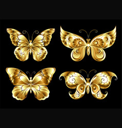 Set of jewelry butterflies vector