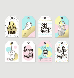 Set with happy easter gift tags and cards with vector