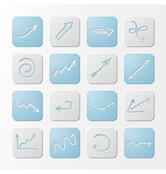 Square paper arrows icons vector