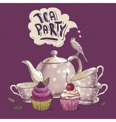 Tea party invitation card with a Cupcake and Pot vector image