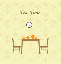 tea time kitchen interior vector image vector image