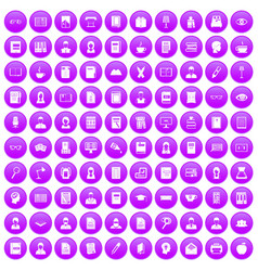 100 reader icons set purple vector
