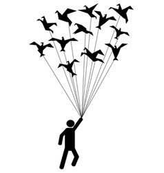Symbol people carried by flying paper birds vector